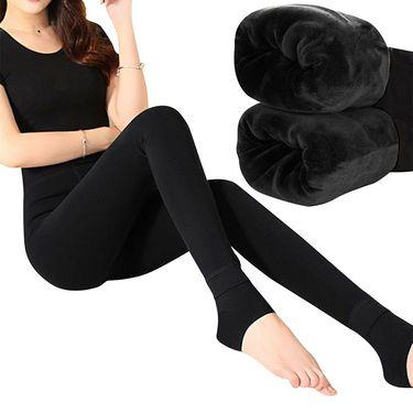 北极绒 加厚加绒女士打底外穿保暖一体裤踩脚裤2条装