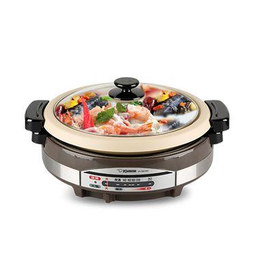 象印 ZOJIRUSHI RAH30C电热火锅烧烤蒸煮锅多用电锅电火锅满水量5.3L 不锈钢棕色