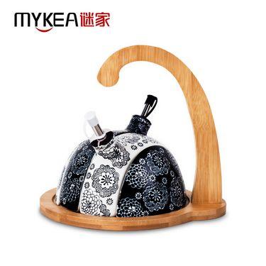 谜家 陶瓷油壶密封罐套装调料调味罐调料盒厨房用品 带竹木底座 易时
