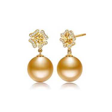仙蒂瑞拉【盛放】9-10mm南洋金珍珠18K金钻石耳饰 定制