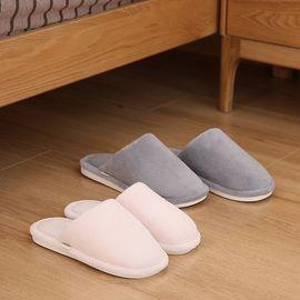 FASOLA 日式珊瑚绒软底拖鞋女 室内无声居家厚底情侣保暖棉拖鞋男