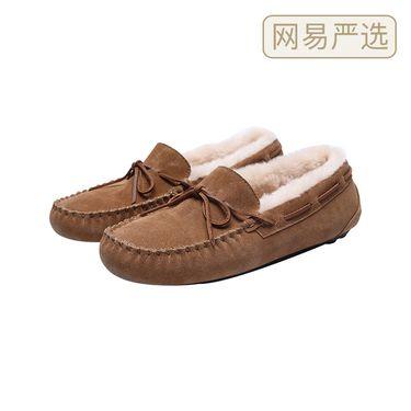 【严选】女式加绒皮毛一体豆豆鞋