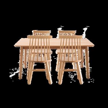 【严选】原素系列实木温莎桌椅组合(1桌+4椅)