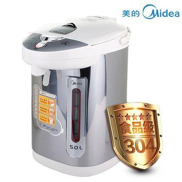 美的 电水壶 双重出水 24小时保温5L大容量 304食品级不锈钢 电热水瓶 PD105-50G 灰色