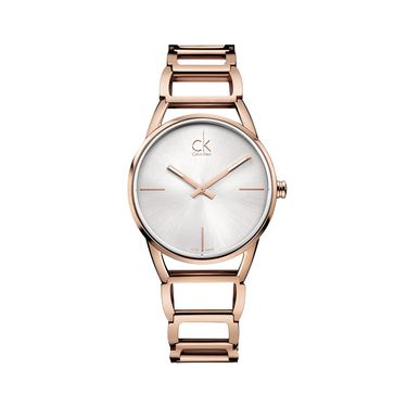 Calvin Klein CK 【明星同款】卡文克莱手表STATELY系列女表简约时分针玫瑰金材质银盘钢带K3G23626