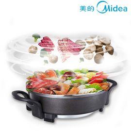 美的 (Midea)电火锅LHN34B大容量不粘锅 5.5L 韩式家用烙饼多功能黑色