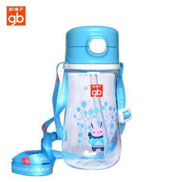 好孩子 晶透吸管训练杯宝宝随身带背带喝水杯饮水杯350ml