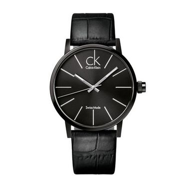 Calvin Klein 卡文克莱(ck)手表 男表黑盘黑色皮革表带石英表K7621401