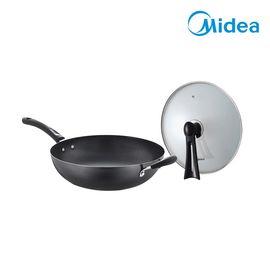 美的 (Midea)炒锅CT32A4厚底无油烟不粘锅电磁炉通用 32cm 黑色
