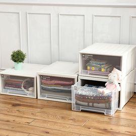 丽芙 家居  抽屉式收纳盒(可叠加)  衣服箱子储物箱塑料收纳箱抽屉式收纳柜透明 衣柜收纳盒衣物整理箱