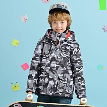 伯希和 PELLIOT户外儿童冲锋衣三合一秋冬男女童印花抓绒两件套登山服