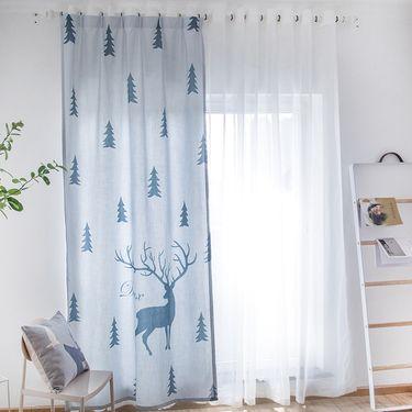 范居态度 ins现代简约定制窗帘遮光布卧室北欧客厅免打孔飘窗阳台窗帘成品 大欧洲风 D款
