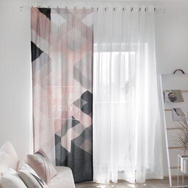 范居态度 ins现代简约定制窗帘遮光布卧室北欧客厅免打孔飘窗阳台窗帘成品 大欧洲风 F款