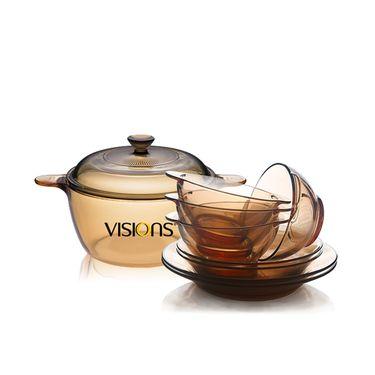 康宁 晶彩透明锅 Pyrex百丽透明碗餐具套组  晶彩耐高温透明锅 透明碗餐具