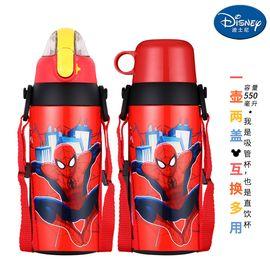 迪士尼Disney-红蜘蛛侠双盖不锈钢保温杯550毫升感温变色高真空男女学童吸管背带休闲运动暖水瓶壶杯