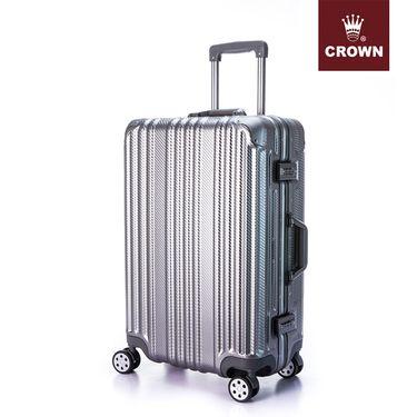 CROWN/皇冠 铝框箱C-F5195 八轮万向轮 行李箱 旅行箱 铝框硬箱 铝框拉杆箱20英寸枪色