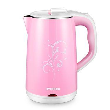 HYUNDAI 韩国现代QC-SH1818E电热水壶 不锈钢电水壶 双层防烫保温烧水壶 粉色橙色随机发货