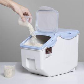 丽芙 家居  防潮防虫密封米桶(送量杯)  厨房密封米桶家用塑料防潮收纳20斤米缸大米面粉防虫储米箱10KG