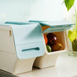 丽芙 家居 前开式收纳箱(可叠加) 侧开口斜翻盖塑料筐收纳盒前开式掀盖整理储物箱子