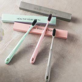 丽芙 竹炭超细软毛牙刷(3支装) 竹炭牙刷软毛成人家用超细软牙刷家庭装男女士小头