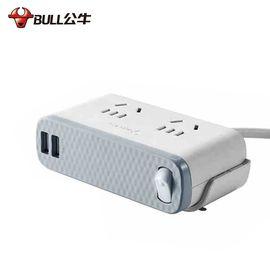 公牛 (BULL)办公系列桌边USB插座/插线板/接线板/插排 2位总控全长1.8米带2USB口U8202GU