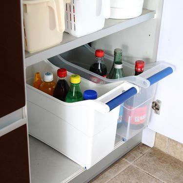 inomata 日本进口厨房收纳盒带轮 手柄塑料储物箱 整理箱 收纳箱