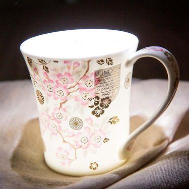 DUNOON 英国丹侬骨瓷水杯Jura型 樱花 白色22K黄金饰面