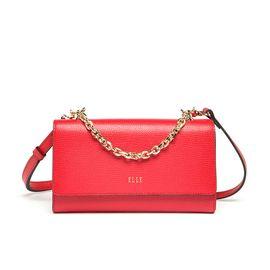 ELLE 女包时尚牛皮链条单肩斜跨手拎MINI小包80202