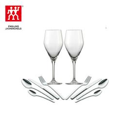 双立人 情侣西餐具套组1(双立人西餐具8件套+肖特圣维莎红酒杯2支)