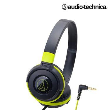 铁三角 【官方旗舰店】头戴式 重低音便携头戴式音乐耳机 S100-HIFI 黑绿色