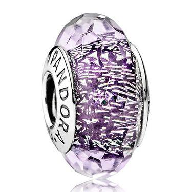 PANDORA 潘多拉 深紫色闪烁琉璃925银琉璃串饰791663