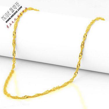 Meidie 美地亚 珠宝足金黄金项链水波链GN0001 金重范围:约3.00g-4.00g
