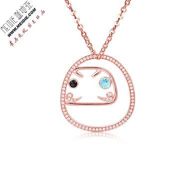 Meidie 美地亚 珠宝玫瑰18K金钻石挂件钻石吊坠送18K金项链——不倒翁系列BDWD007