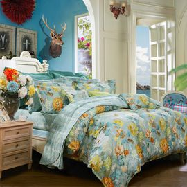 富安娜 FUANNA  宛若清风 纯棉印花床单四件套 1.5床/1.8床   两种尺寸