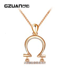GZUAN古钻 天秤座 18K金钻石吊坠 D3068(赠18寸S925银镀金项链)