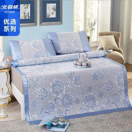 北极绒 夏日冰丝凉席三件套   席子180×200cm×1   枕套48×74cm×2  蓝色