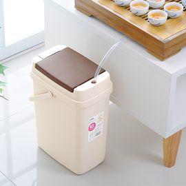 SP SAUCE 日本多功能茶水桶塑料手按茶渣桶 茶具配件附滤渣网垃圾桶10L
