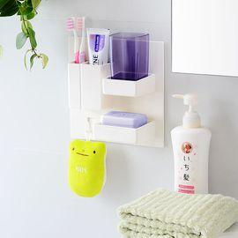 SP SAUCE日本粘贴式多功能洗漱套装收纳架牙刷牙膏置物架香皂沥水架