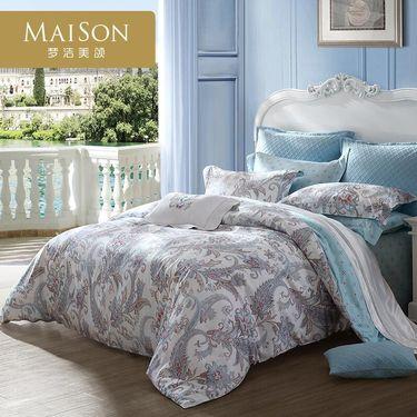 梦洁 出品MAISON全棉四件套床上用品床单被套贡缎 情迷佩兹利