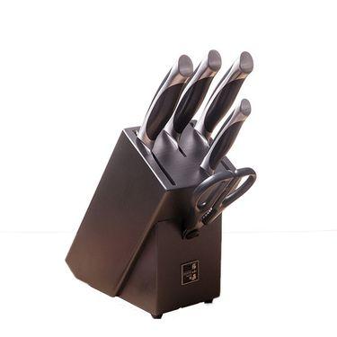张小泉 启航刀具六件套5铬钼钒钢切片刀不锈钢砍骨刀厨房剪套装