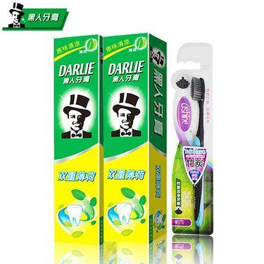 黑人 牙膏双重薄荷225克2支装+牙刷 清新口气 防蛀固齿