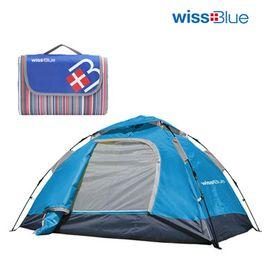 维仕蓝  双人自动帐篷套装(送多功能休闲垫)帐篷蓝绿两色随机发送