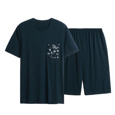 三枪 睡衣男夏季 春夏新品 爽滑密棉短袖短裤男士家居服套装