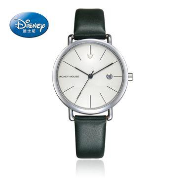 迪士尼 韩版简约超薄休闲石英表男女防水情侣表学生真皮表带手表13002