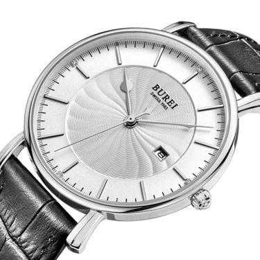 宝梭 (BUREI)手表男士石英表皮带薄大表盘时尚防水手表