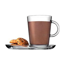 帕莎帕琦Pasabahce欧洲进口无铅玻璃特里贝克咖啡杯碟2套礼盒装385ml 95781