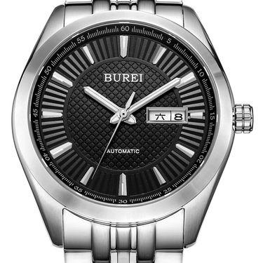 宝梭 (BUREI)手表 男士机械表全自动钢带商务防水手表夜光腕表