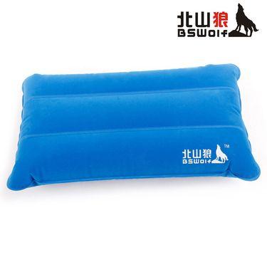 北山狼 户外露营酒店出行充气旅行枕便携式护颈舒适方形植绒枕