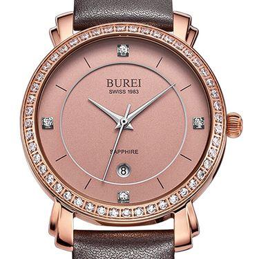 宝梭 (BUREI)手表女士石英表皮带时尚手表潮流女学生手表镶钻防水表