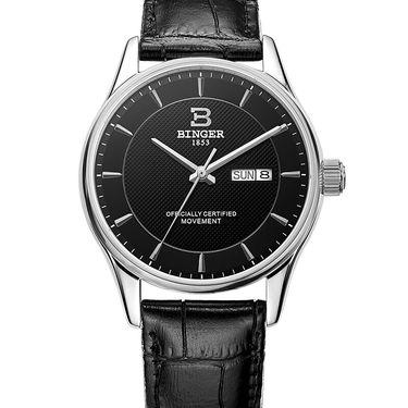 宾格 (BINGER)手表男士手表男表全自动机械表精钢时尚商务双日历防水
